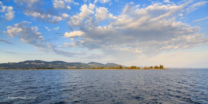 Blick vom Schutzdamm über die Fussacher Bucht zum Rohrspitz. Im Hintergrund die Anhöhen auf Schweizer Seite | 06.08.2013 | Foto Stephan Trösch