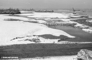 Bauarbeiten an der damaligen neuen Rheinmündung | Aufnahme 11.02.1967 | Foto bereitgestellt von Bruno und Lotti Keist