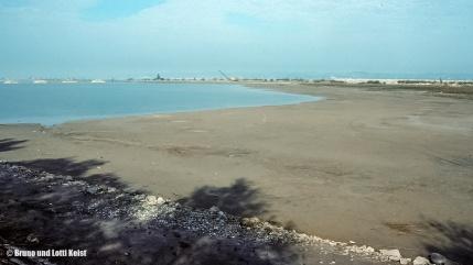 Lagune, Blick vom Sanddelta über den neuen Lagunenbereich. Links sind die neuen Kiesinseln zu sehen. Im Vordergrund die Schlickfläche noch ohne Schilfwald | 28.10.1988 | Foto bereitgestellt von Bruno und Lotti Keist